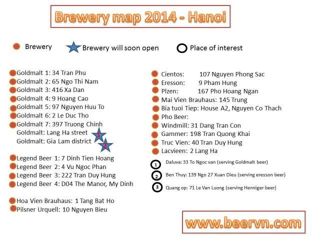 Hanoi beer map